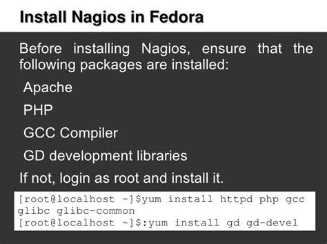 tutorial gcc linux tutorial install nagios in fedora