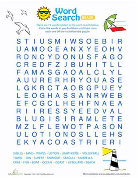 printable word search beach word search for kids beach fun worksheet education com
