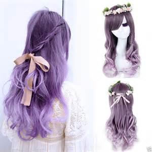 Wig Base Purple Wig Rize s curly wavy hair wigs anime purple