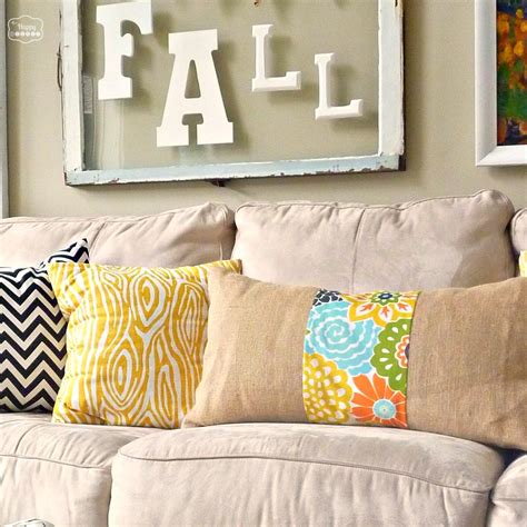 easy diy burlap and floral pillow the happy housie