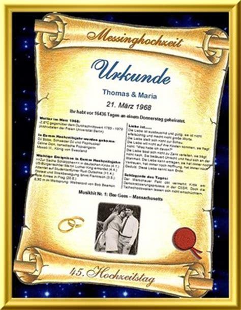 Hochzeit 45 Jahre by Messinghochzeit Platinhochzeit Urkunde Als Geschenk