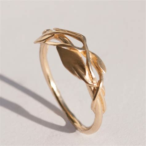 Wedding Rings Leaves by Leaves Ring No 2 14k Gold Ring Unisex Ring Wedding Ring