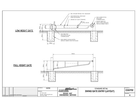 layout design engineer civil engineering standard drawings cgg702 swing gate
