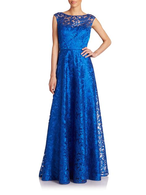 Embroidered Gown lyst aidan mattox metallic embroidered gown in blue