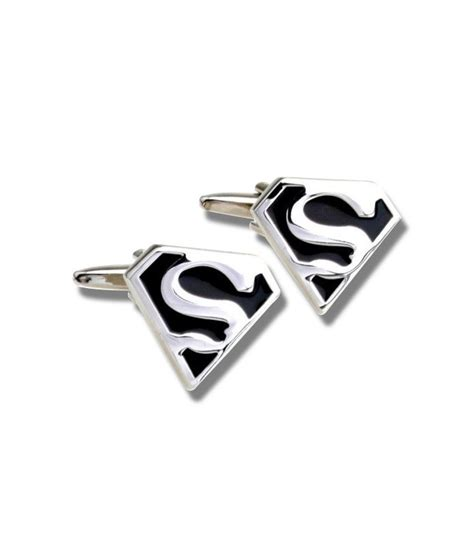 Cufflinks Cufflink Kancing Manset Black Silver Superman silver on black superman cufflinks buy cufflinks comics