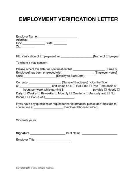 Employment Verification Letter Sle For Apartment Proof Of Income Form Template