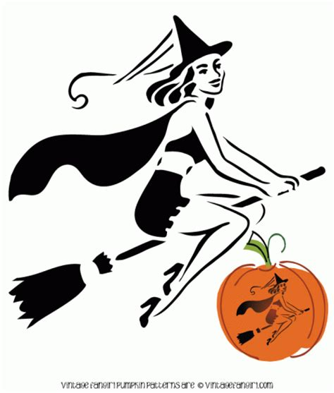 printable pumpkin stencils witch retro sexy witch on a broom pumpkin carving pattern