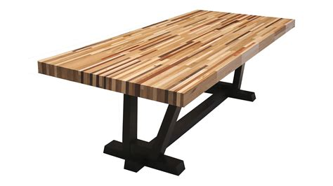rectangle butcher block dining table with black base looks like a butcher block dining table for the home
