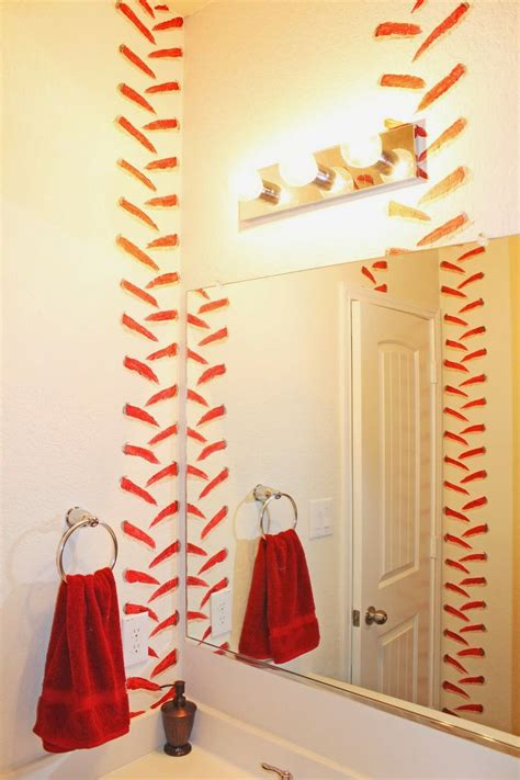 baseball curtains boys baseball themed bathroom stitching painted in