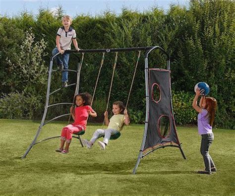 target metal swing sets twin swing play set with climb side target wall powder