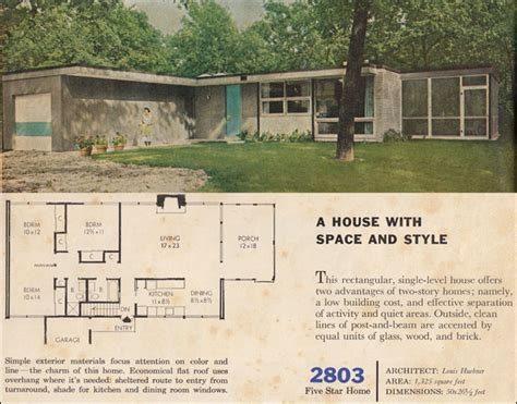 1960 modern house plan better homes garden five