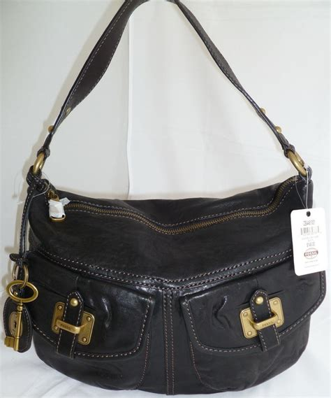 New Fossil Hobo Tote Shoulder Bag In Bag Seri 41218 2f fossil black brown leather convertible crossbody shoulder bag hobo new ebay
