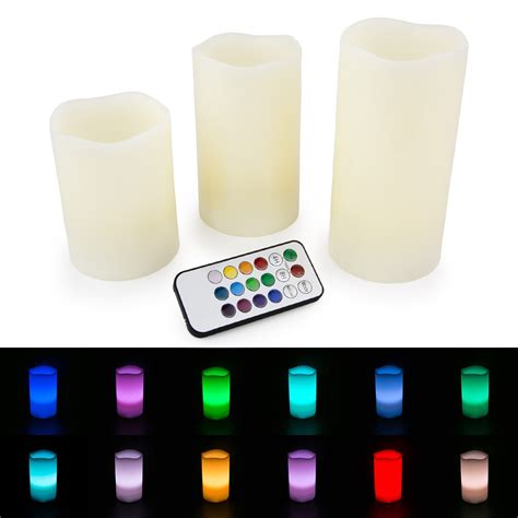 color changing candle led flameless ivory candles set of 3 4 quot 5 quot 6 quot color