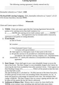 catering contract template catering contract template for excel pdf and word