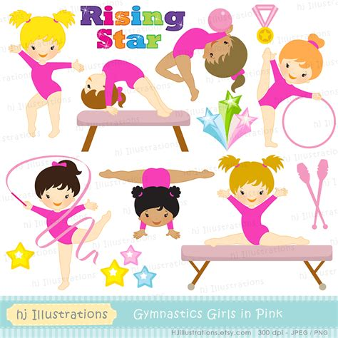 clipart ginnastica hj illustrations gymnastic in pink