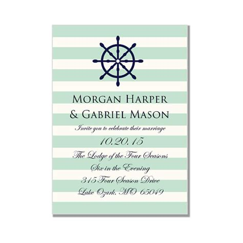nautical wedding invitation template quot nautical wheel mint