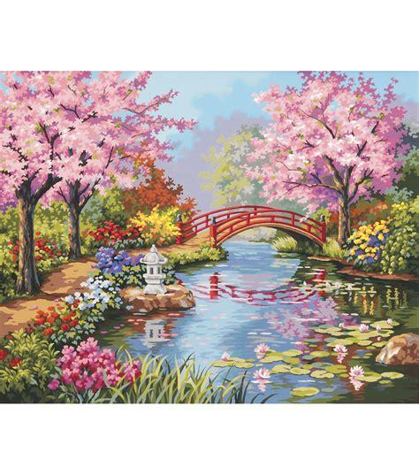 dimensions  paint  number kit japanese garden joann