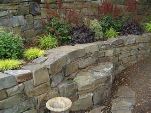 retaining wall bench stone bench built into retaining wall garden stone and