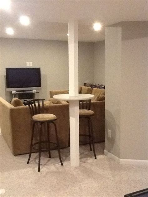 basement support pole bar height table wood basement