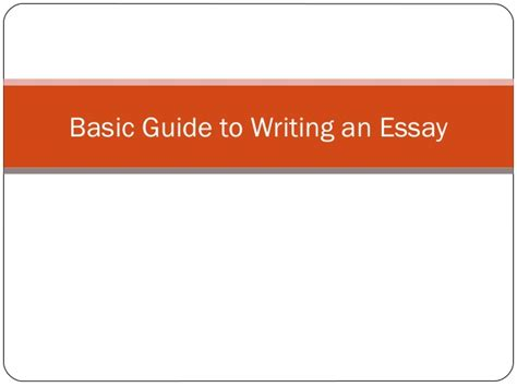 Guide To Writing A Basic Essay by Writing An Essay