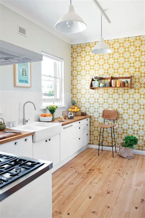yellow wall kitchen decorating with retro wallpaper 32 eye catchy ideas