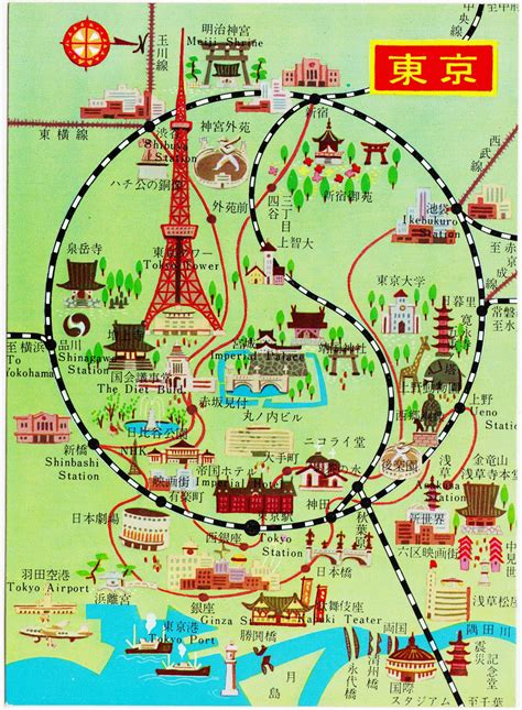 map of tokyo papergreat saturday s postcard illustrated map of tokyo with taijitu symbol