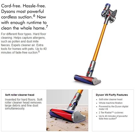 Dyson V8 Fluffy Vacuum Cleaners buy dyson sv10 v8 fluffy cordless vacuum cleaner local warranty deals for only s 1199 instead