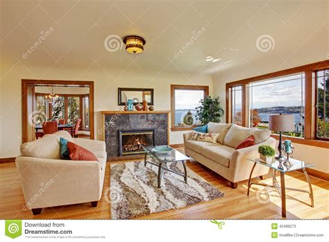 bright living room  light ivory tones stock photo