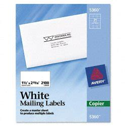 avery 5360 template avery dennison 5360 copier address labels 1 1 2 x 2