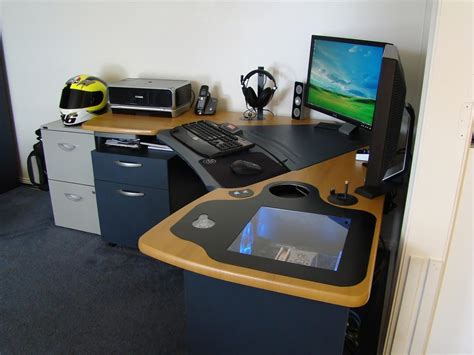 15 Envious Home Computer Setups Inspirationfeed Computer Built Into Desk