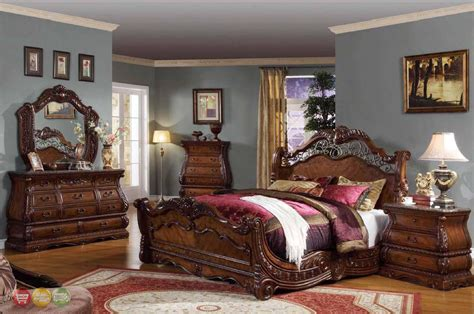 cherry wood sleigh bedroom set frontega traditional cherry bedroom furniture sleigh bed w