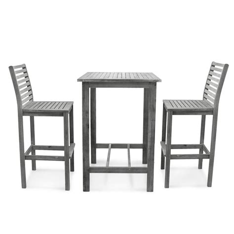 Vifah Renaissance Hand sScraped 3 Piece Wood Square Table Outdoor Bar Height Dining Set