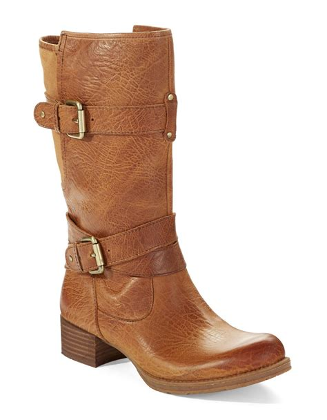 brown mid calf boots naya silence mid calf buckle boots in brown lyst