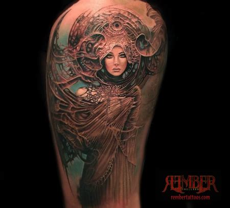dark age tattoo nouveau portrait by rember tattoos