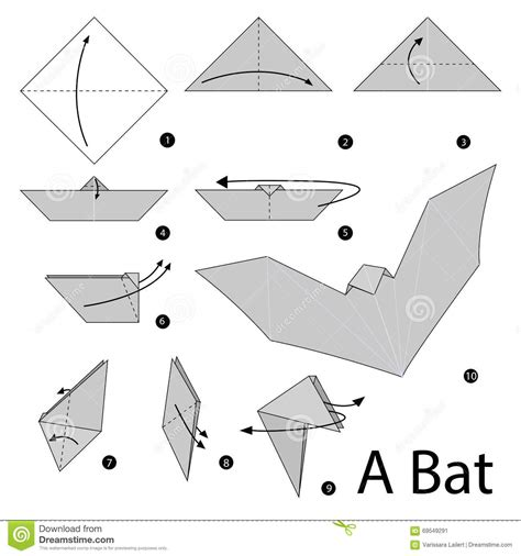 How To Make A Paper Bat - step by step how to make origami a bat stock