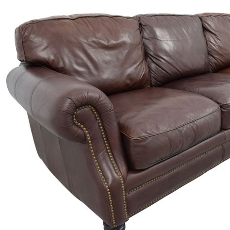 second hand brown leather sofa 61 off brown leather studded three cushion sofa sofas