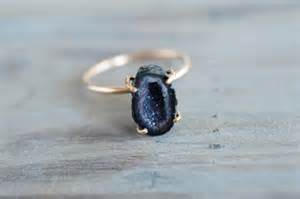 Geode Engagement Ring Box Dark Blue Baby Geode Gold Ring Handcrafted Gold Filled Raw