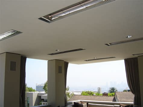 Flush Mounted Heaters In Patio Ceiling Infratech Outdoor Patio Ceiling Heaters