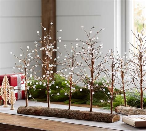 lit branches decorations lit white berry drop tree centerpiece pottery barn