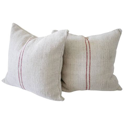 Grain Sack Pillows by Pair Of Vintage European Grain Sack Linen Pillows With