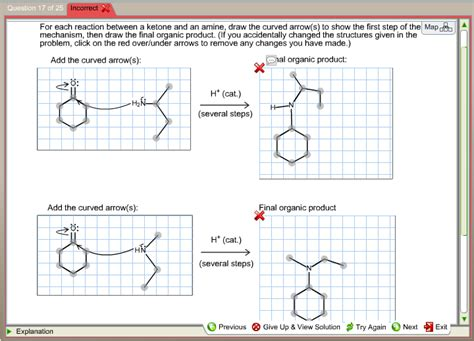 doodle how to make mechanism for each reaction between a ketone and an amine d