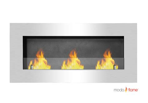 Recessed Fireplaces by Moda Hudson Recessed Wall Mounted Bio Ethanol