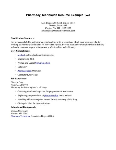 Pharmacy Technician Resume Exles by Pharmacy Tech Resume Sles Sle Resumes