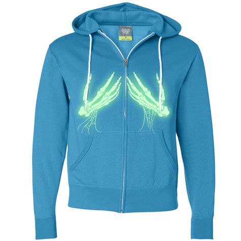 Hoodie Zipper Glow In The Bonek 1 glow in the skeleton zip up hoodie ebay