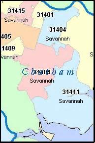 Savannah Zip Code Map by Savannah Georgia Ga Zip Code Map Downloads