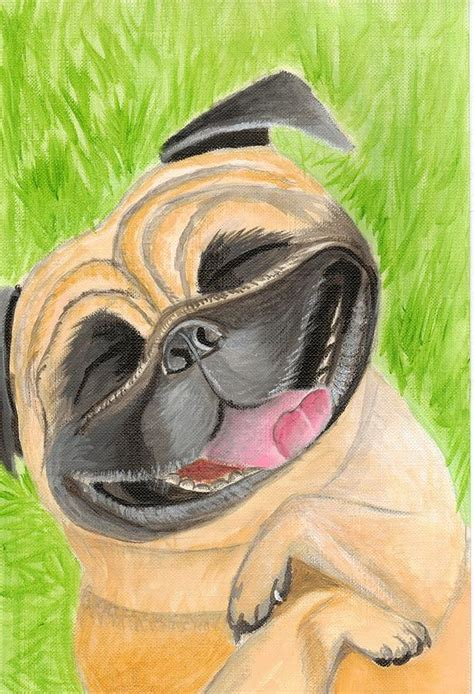 laughing pug laughing pug painting by meghan forminsky