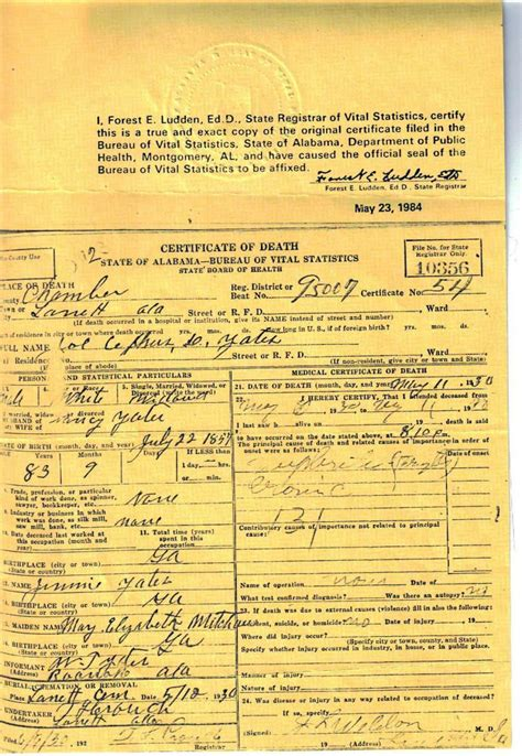 Birth Records Alabama Alabama Usgenweb Archives Chambers County Vital Records