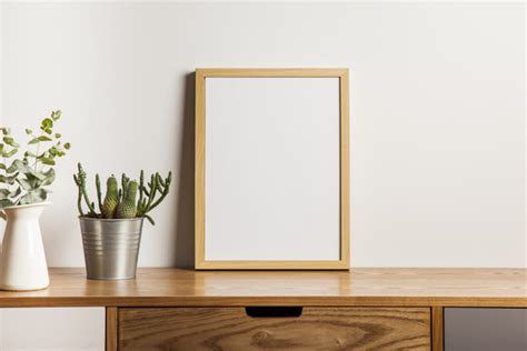 Floral composition with frame on table photo free download