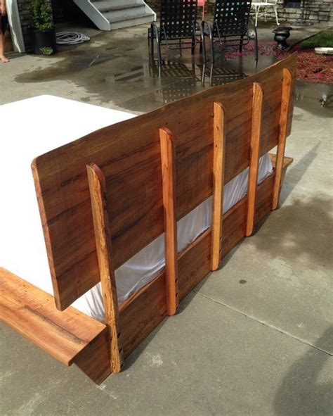 spalted beech platform bed   edge slab headboard