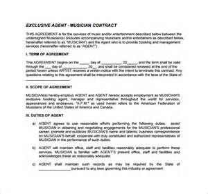Musicians Contract Template by Booking Contract Template 9 Free